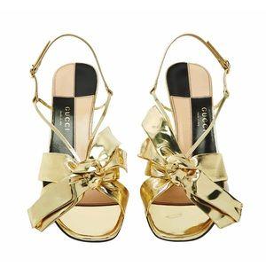 GUCCI Gold Metallic Bow Leather Sandals NIB